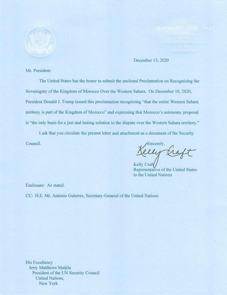 Les Etats-Unis transmettent à l'ONU la décision présidentielle sur le Sahara 1