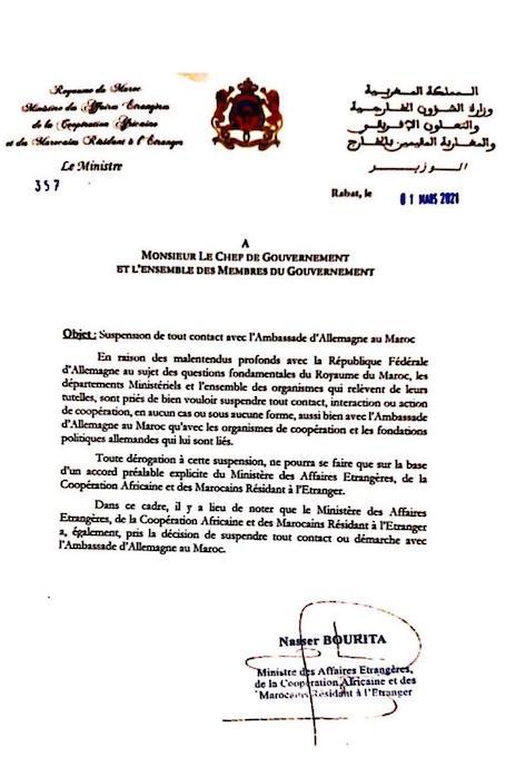 LE MAROC SUSPEND SES RELATIONS AVEC L'ALLEMAGNE 1