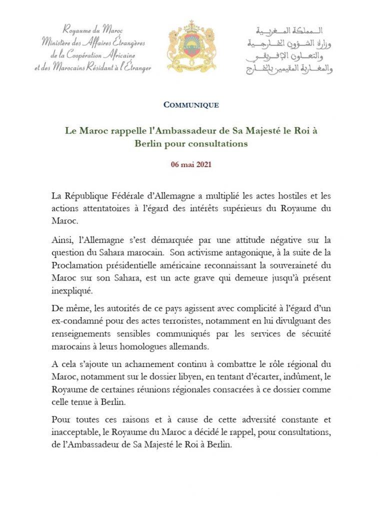 Le Maroc rappelle son ambassadeur à Berlin pour consultations 1