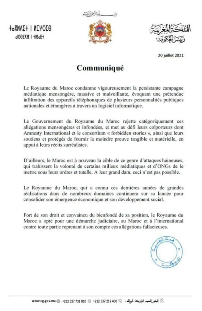 PEGASUS: le Maroc condamne une campagne médiatique mensongère, massive et malveillante 1